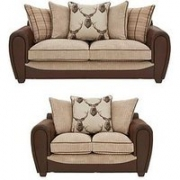 Highland Fabric/Faux Snakeskin 3 Seater + 2 Seater Scatter Back Sofa (Buy And Save!)