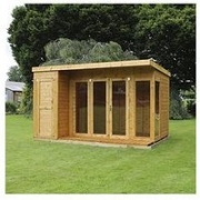 Mercia 12 X 8Ft Premium Garden Room Summerhouse With Side Shed