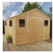 Mercia 12 X 10Ft Premium Tongue &Amp; Groove Apex Workshop With 6 Windows, Double Door, T&Amp;G Roof &Amp; Floor – Assembly Included