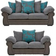 Botanic Faux Snakeskin/Fabric 3 Seater + 2 Seater Scatter Back Sofa Set (Buy And Save!)