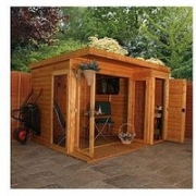 Mercia 10 X 8Ft Premium Garden Room Summerhouse With Side Shed – Assembly Included