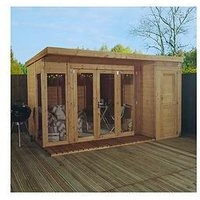 Mercia 12 X 8Ft Premium Garden Room Summerhouse With Side Shed – Assembly Included
