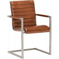 Titus Chair, Vintage Leather Dining Chair, Light Brown